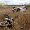 Condutor de 'Fiat Uno' perde o controle e capota veículo se chocando com motocicleta em PIO IX