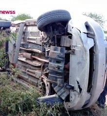 Em Belém do Piauí, motorista perde controle do veículo e tomba na zona rural do município